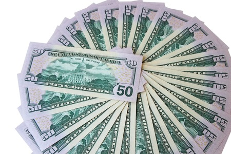savings problems: Dollar notes stacked on the other side of the circle Stock Photo