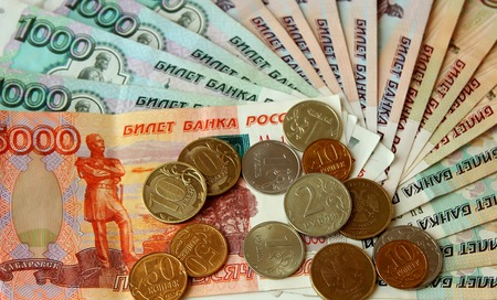 rubles: Russian rubles banknotes posted a fan