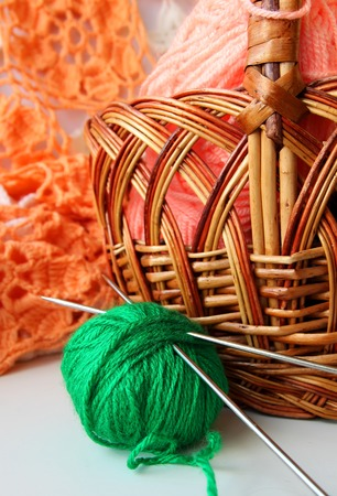 acrylic yarn: Ball of yarn and knitting needles lying near basket