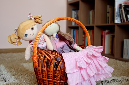 soft furnishing: Basket with toys and stuff