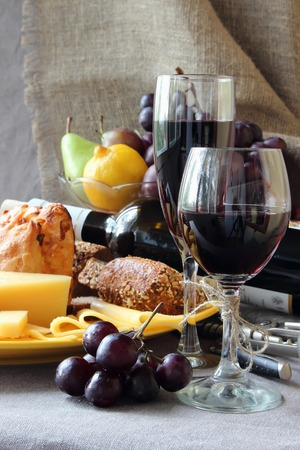 ripened: Still life with fruit, a plate of cheese and a glass of wine.