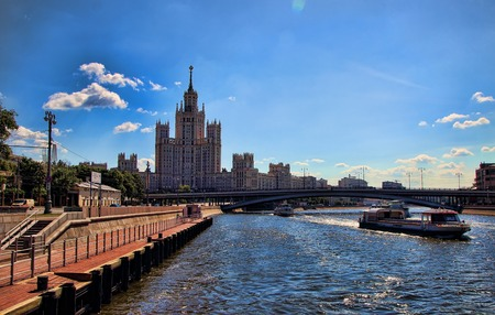 pleasure boat: Moscow, Russia, July 5, 2015, View of the Moscow River and a pleasure boat.