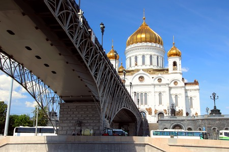 patriarchal: Christ the Savior Cathedral on the background of the Patriarchal bridge.