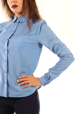 hand cuff: Young model in strict blue blouse.