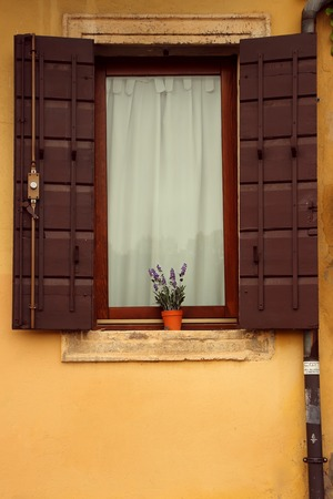 flower boxes: A window with open shutters and flower boxes.