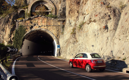 drove: The car drove at speed into the tunnel.