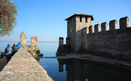sirmione: Sirmione, Italy, 31 October 2015,Old Town in Sirmione