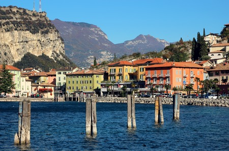 2 november: Riva del Garda, Italy, 2 November 2015,The coastline of Lake Garda. Stock Photo