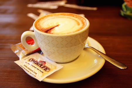 2 november: Limone sul Garda, Italy, 2 November 2015, A cup of cappuccino.