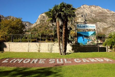 2 november: Limone sul Garda, Italy, 2 November 2015,Flowerbed with the letters representing the city in the background mountains.