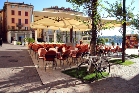 salo: Salo, Italy, 30 October 2015 Empty cafe in a small Italian town.