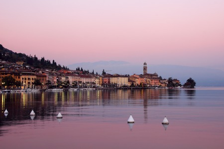 salo: Salo, Italy, October 30, 2015 View of the promenade of Lake Garda in the evening.