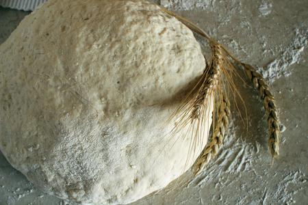 levadura: masa de levadura en la mesa de la cocina. Foto de archivo