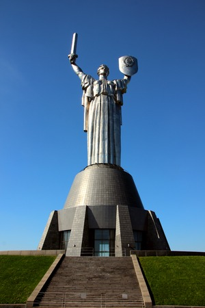 April 28, Kiev, Ukraine, monument The Motherland Calls in the territory of the memorial complex.