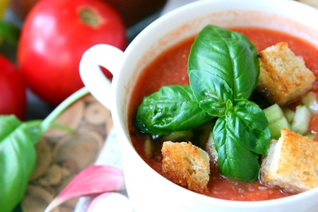 gazpacho: A plate of gazpacho with croutons. Stock Photo