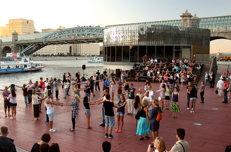 cadence: August 27, 2016 Moscow, Russia, Active Learning evening dancing on the quay of Moscow river.
