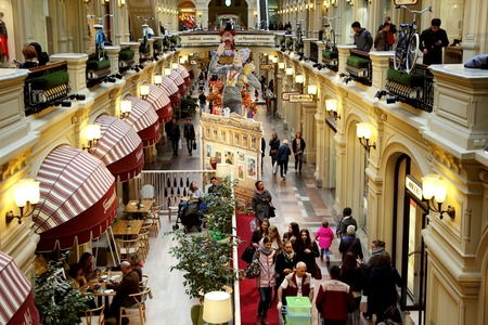 October 9, 2016, Moscow, Russia, central interior of the store, Gum with tourists.