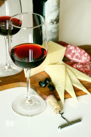 Two glasses of red wine.  Stock Photo