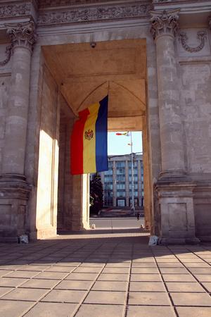 June 15, 2017, Chisinau, Moldova, Victory Arch in Chisinau in the evening, illuminated by the sun