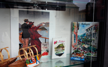 November 4, 2017, Bellagio, Italy,View of the window with souvenirs for memory.