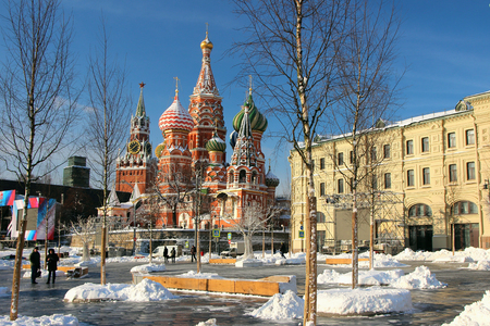 01 February 2018, Moscow, Russia, View of St. Basils Cathedral and Spassky Tower.