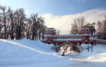 Beautiful view of a brick bridge in a winter park.  Stock Photo