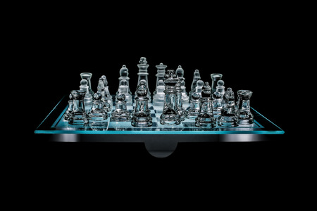 Side view of  glass chess board