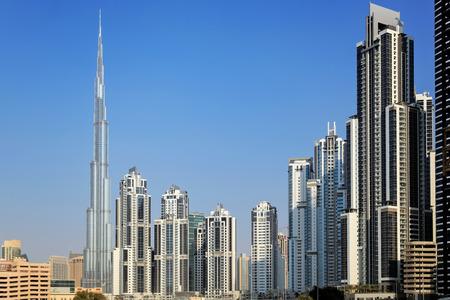 residential area: View on Burj Khalifa and  residential apartments in Down Town, Dubai, UAE Editorial