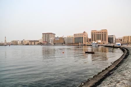 ministry: Photo taken on 22. april 2012 at 18:20pm. Dubai, Bur Dubai, Creek. Buildings at the background - Ministry of Finance, HSBC, Mashreq Bank
