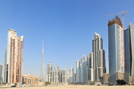 apartment for rent: View on Burj Khalifa and  residential apartments in Down Town, Dubai, UAE Stock Photo