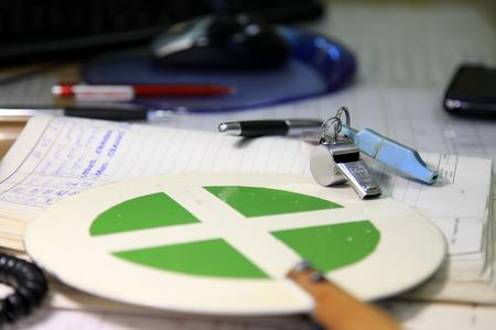 dispatcher: dispatcher tools, train dispatcher, whistle, pens, stick, notepad, worktable