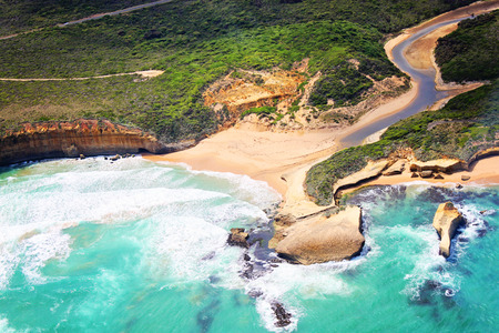 Australia, Great Ocean Road. View from a helicopter. Taken on 16.february 2011. Stock Photo