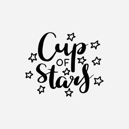 Cute mug or cup print for a girl with hand lettered Cup of Stars text and doodle stars Çizim