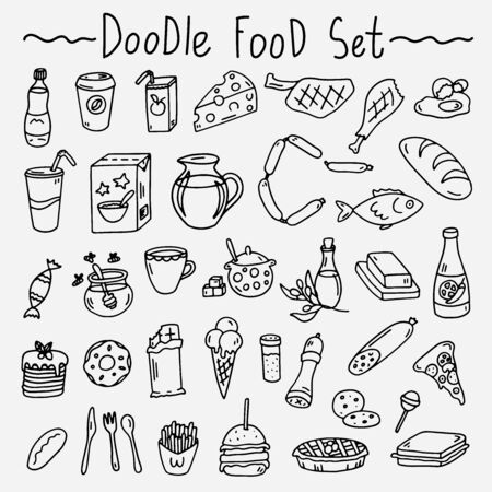 Hand-drawn doodle set of isolated food elements for restaurants and cook books Illustration