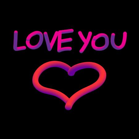 Imagem vetorial com as palavras que eu amo você e o coração. Foto de archivo - 81796941