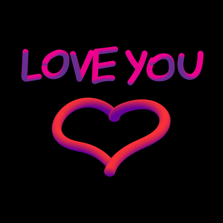 Vector image with the words I love you and the heart.