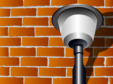 background with brick wall and lantern Illustration