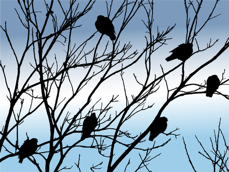 birds on tree in winter Illustration