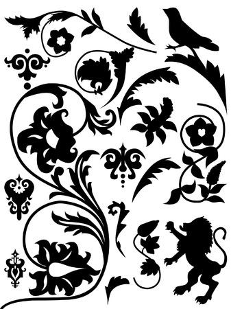 set of antique elements, renaissance Illustration