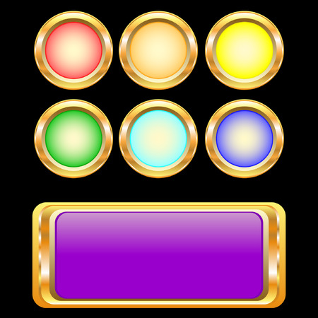 set of golden buttons Illustration