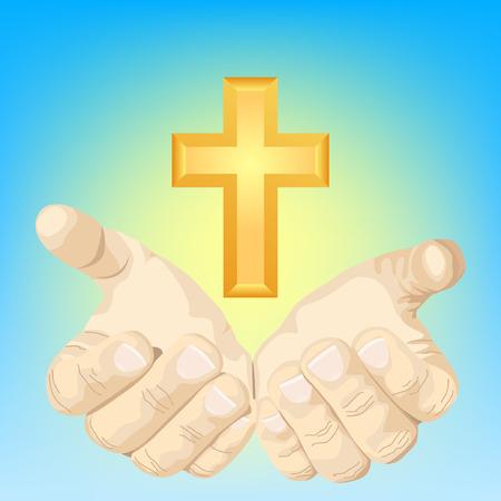 hands and cross Stock Vector - 5629085
