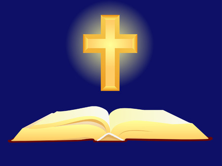 bible and cross: bible and cross Illustration