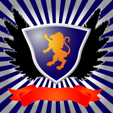 shield with lion, wings and banner Illustration