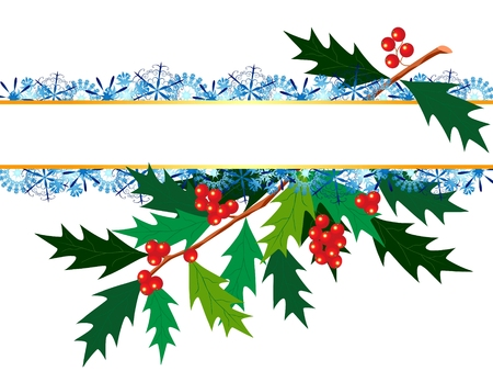 christmas background with holy and snowflakes