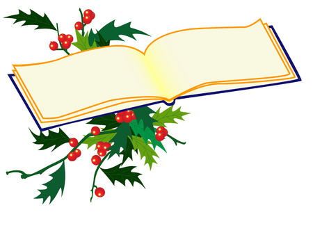 aquifolium: christmas background with holy and book Illustration