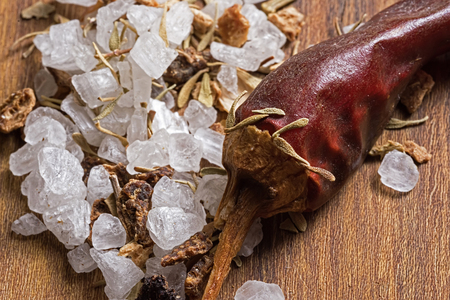 crushed red peppers: Spices and Herbs Close Up. Dry Pepper, Sea Salt and Lemon Peel.