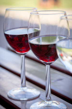 sauvignon blanc: Glasses of Red and White Wine Close Up