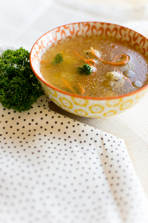 matzah ball: Fresh Vegetable Soup  with Dumplings in Colorful Bowl Stock Photo