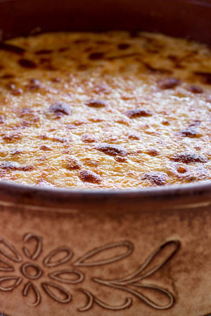Pastitsio Traditional Greek Baked Pasta Casserole With Ground Beef, Tomatoes, Feta Cheese and Bechamel Sauce Stock Photo