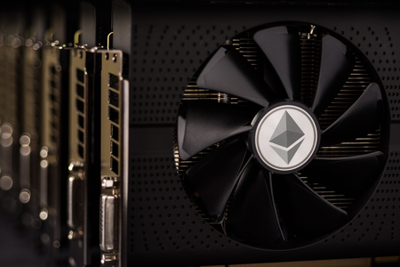 Ethereum Coin Digital Cryptocurrency Mining Rig Farm Using Graphic Cards